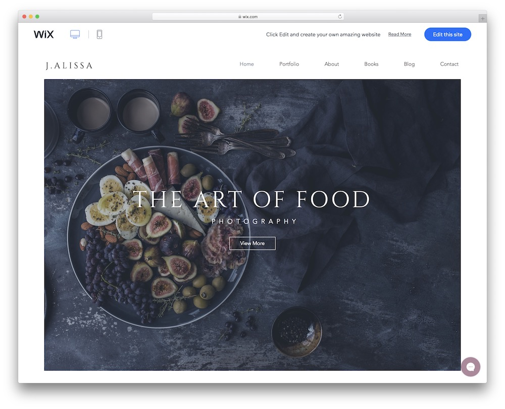 food photographer wix template