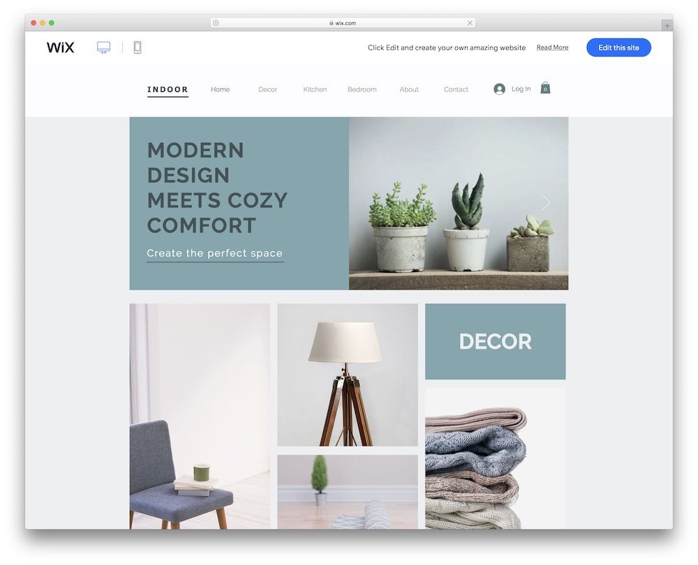 home decor wix template