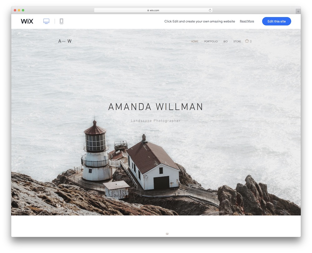 landscape photographer wix template