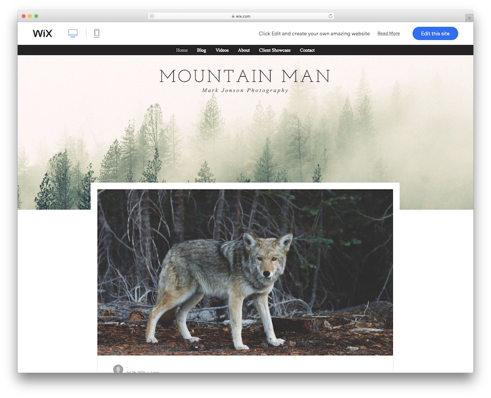 photography blog wix template